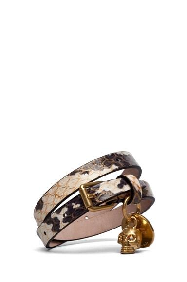 Double Wrapped Snakeskin Skull Charm Bracelet