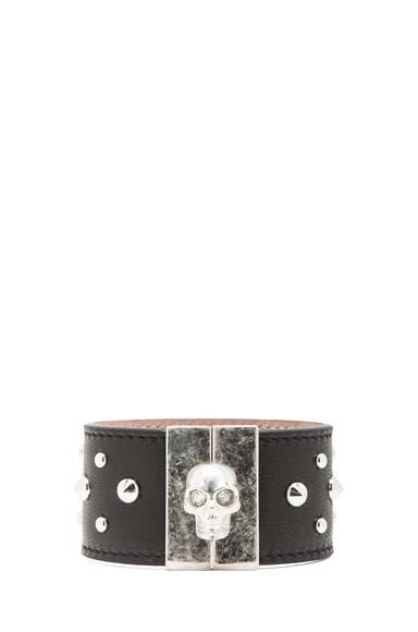 Studded Skull Leather Cuff
