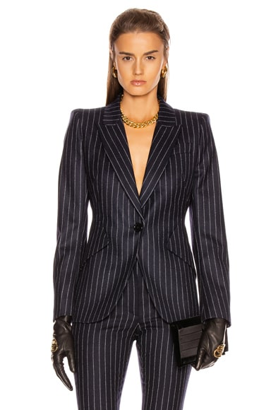 Pinstripe One Button Jacket