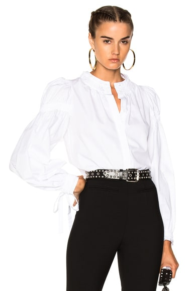 Popeline Ruched Sleeve Shirt