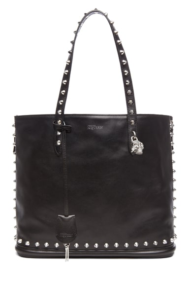 Stud Lined  Shopper with Skull Padlock