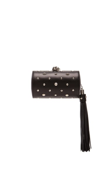North South Skull Studded Nappa Clutch