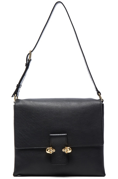 Twin Skull Leather Bag