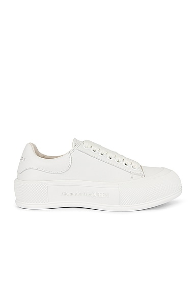 Alexander McQueen Lace Up Round Sneakers in White