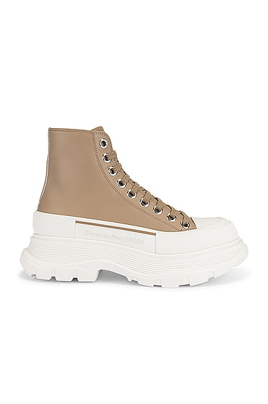 Alexander McQueen Lace Up Tread Slick High Top Sneakers in Tan