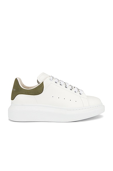 Alexander McQueen Leather Sneakers in White,Green