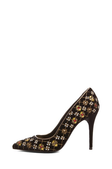 Pointy Embroidered Velvet Pumps