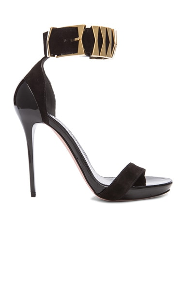 Belted Ankle Strap Suede Sandals