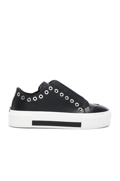 Eyelet Leather Platform Lace Up Sneakers