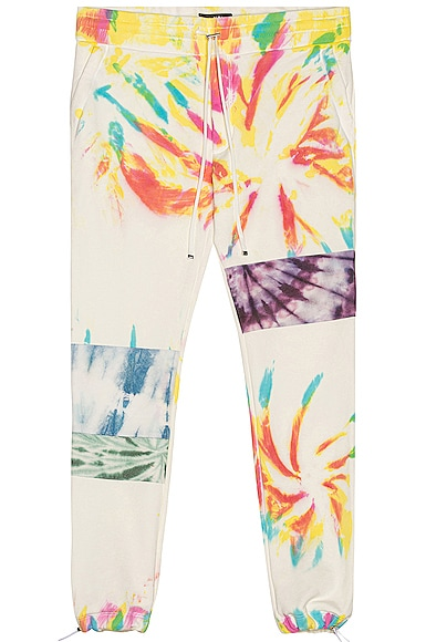 Amiri Tie Dye Art Patch Sweatpant in White