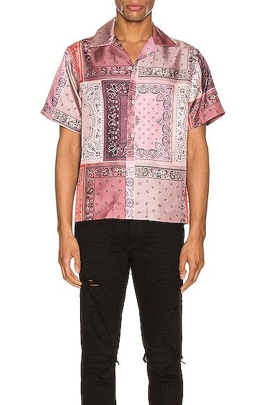 Bandana Reconstructed Short Sleeve Silk Shirt