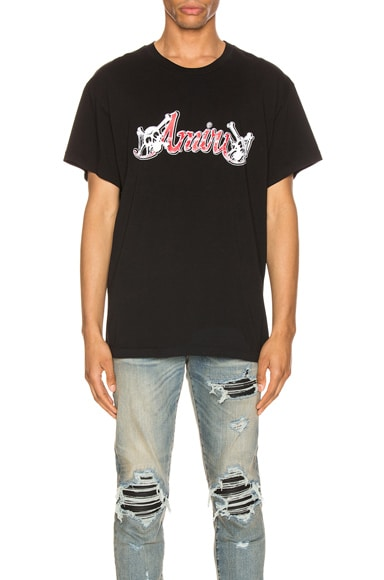 Amiri + MÖtley CrÜe Logo-print Cotton-jersey T-shirt In Black