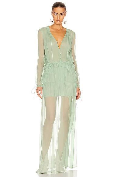 Crinkle Chiffon Maxi Dress