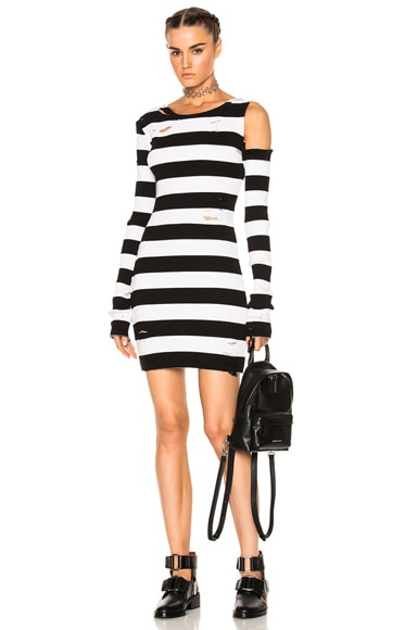One Shoulder Long Sleeve Rib Dress
