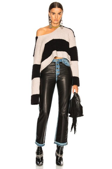 Wide Stripe Cropped Sweater