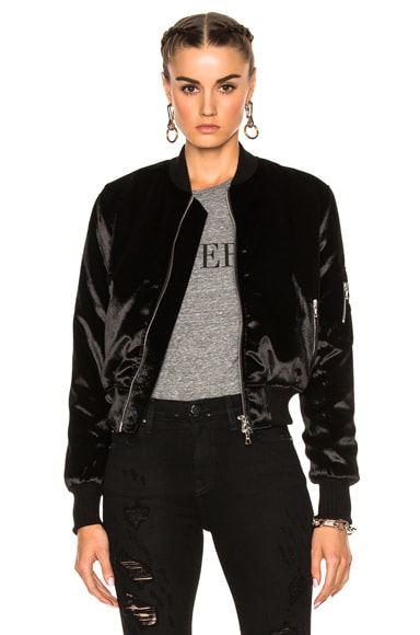 Long Pile Velvet Bomber Jacket