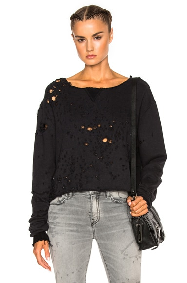 Off Shoulder Cropped Shotgun Sweatshirt