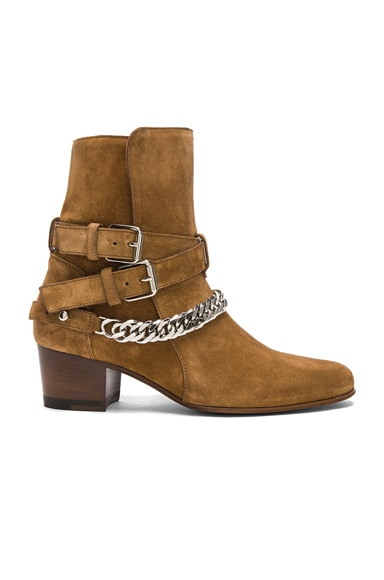 Chain Buckle Suede Boots