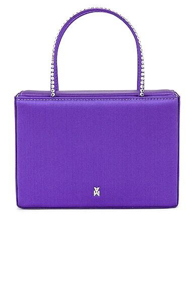 AMINA MUADDI Gilda Crystal Satin Bag in Purple