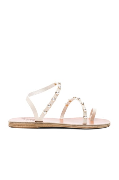 Leather Apli Pearls Sandals