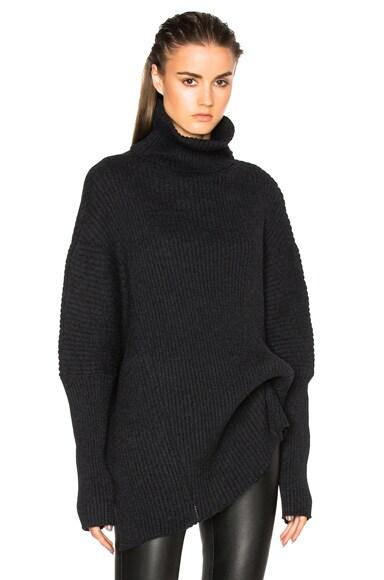 Wool Turtleneck Asymmetric Sweater