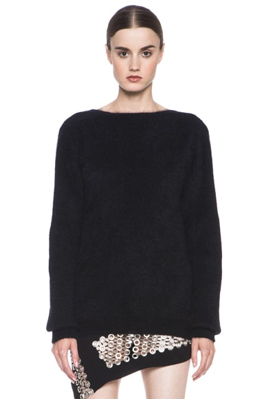 Back V Neck Angora Sweater