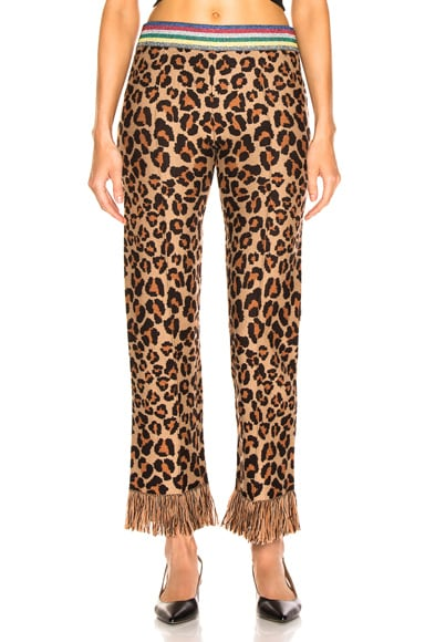 Animalier Jacquard Knit Fringe Trim Pants