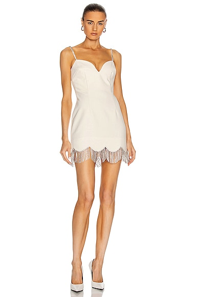 AREA Crystal Scallop Fringe Sweetheart Dress in Ivory & Clear | FWRD