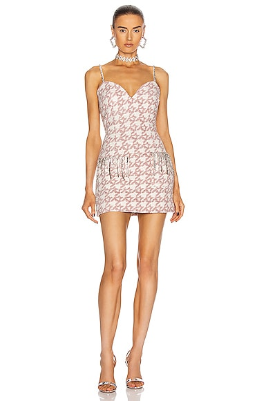 AREA Crystal Fringe Structured Mini Dress in Light Pink | FWRD