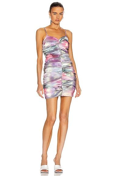 AREA Ruched Mini Dress in Cloud Print | FWRD