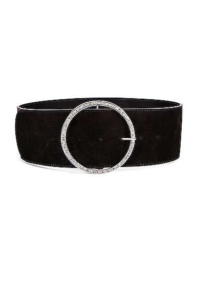 Circular Jewel Buckle Suede Belt