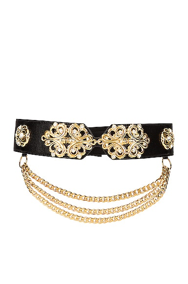 Alessandra Rich LEATHER GOLD EMBELLISHMENT BELT