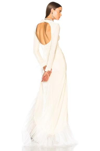 Asymmetric Hem Ruffle Gown