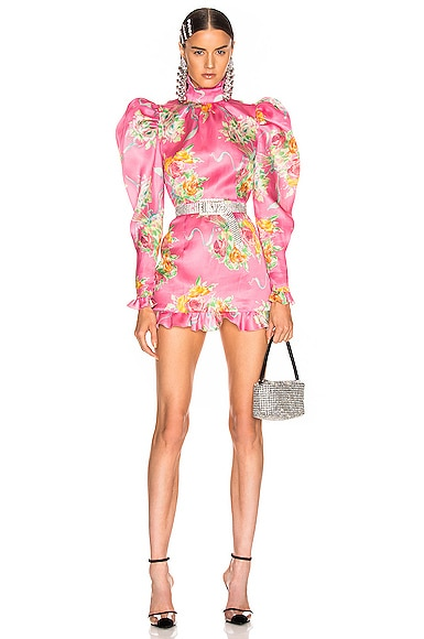 Floral Print Silk Organza Mock Neck Mini Dress