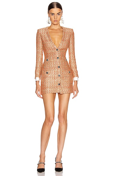 V Neck Sequin Tweed Mini Dress