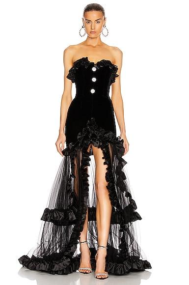 Strapless Velvet Gown With Ruffle Hem