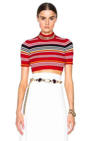 Knitted Stripe Crop Top