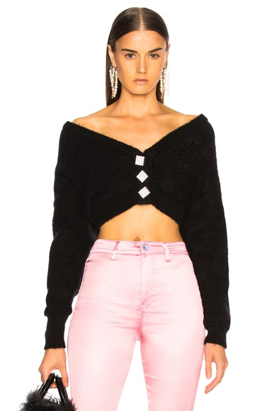 Cropped Mohair Off Shoulder Cardigan