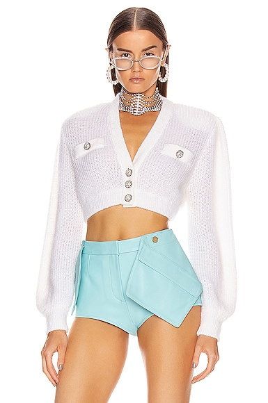 Wool Crystal Button Crop Cardigan