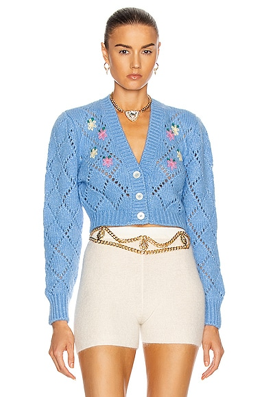 Alessandra Rich WOOL CARDIGAN WITH FLORAL DETAILS