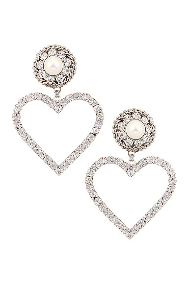 ALESSANDRA RICH CRYSTAL HEART EARRINGS WITH PEARL CLIP