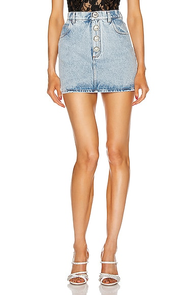Denim Mini Crystal Button Skirt