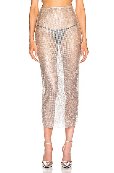 Crystal Net Midi Skirt