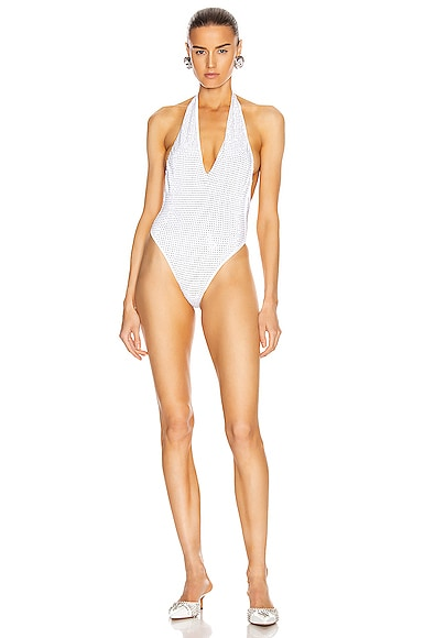 Crystal Embellished One Piece Swimsuit
