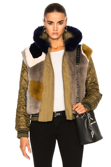 Reversible Bomber With Rabbit & Fox Fur