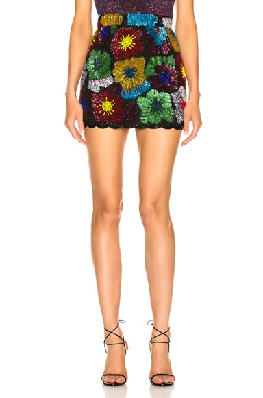 Psychedahlia Beaded Mini Skirt