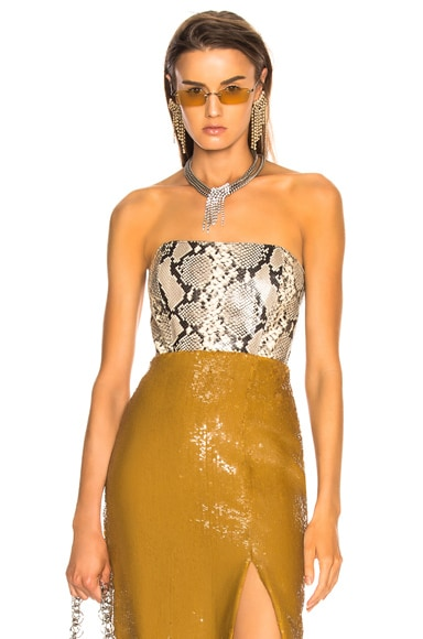 Clio Snakeskin Printed Leather Bustier