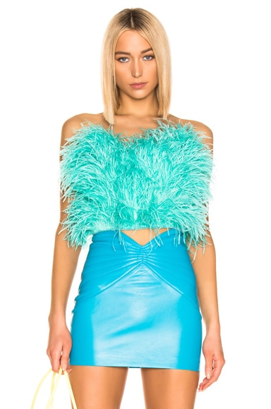 Ostrich Feather Strapless Top