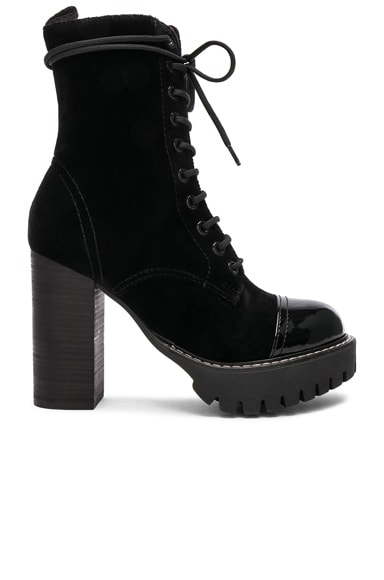 Velvet Heavy Tread Heeled Boot
