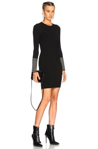 Long Sleeve Dress with Crystal Cuff Detail